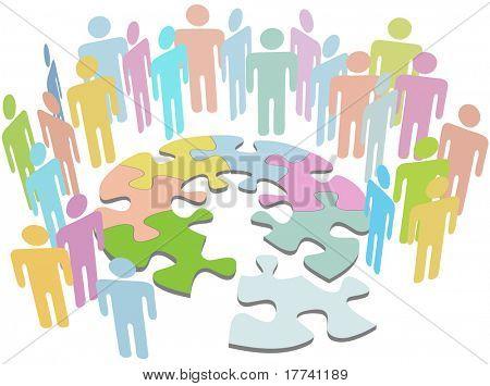 Gruppe von Menschen zusammenarbeiten, um eine Lösung zu finden, lösen Sie ein Puzzle-Problem-Symbol