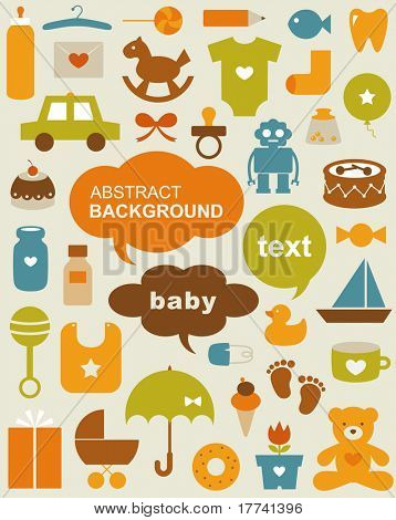Set of beautiful baby icons