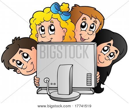 Cartoon kids with computer - vector illustration.