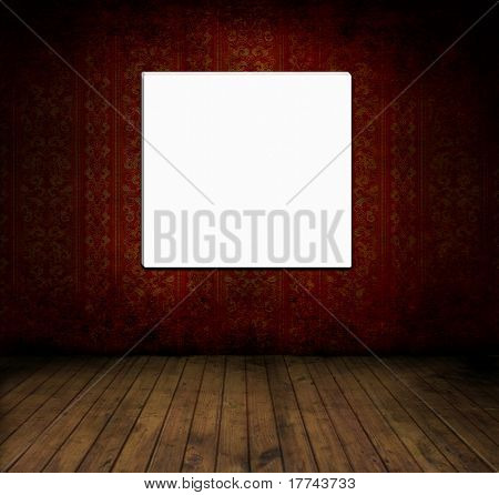 Empty old grungey room with red vintage wallpaper