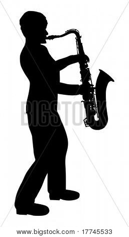 illustration with saxophonist silhouette isolated on white background
