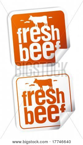 Fresh beef meat stickers set