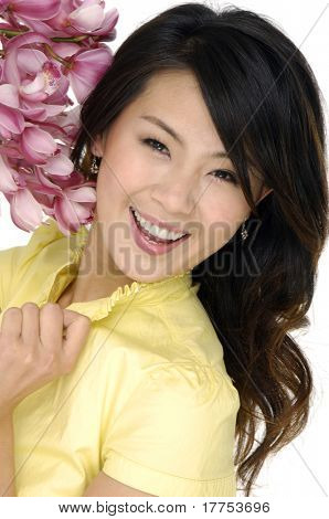 Beautiful asian woman and orchid
