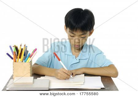 child write in book a over white background