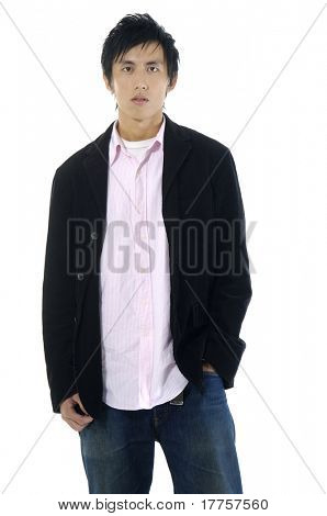 Portrait of a casual young satisfied man. Isolated on white