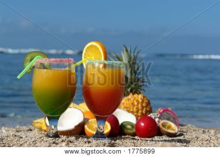 Glasses With Fruits And Juice