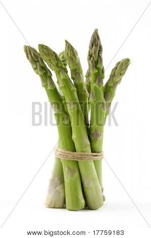 Fresh asparagus on white