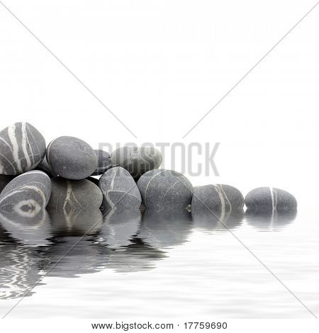 Reflection for natural grey stones for a corner