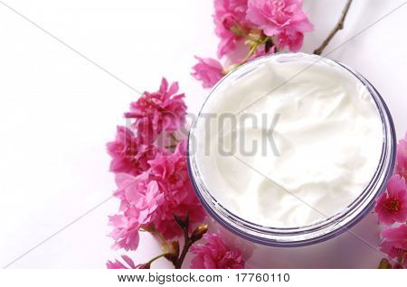 Skin cream on white background