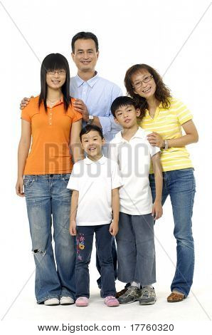 portrait of a happy young family laughing together