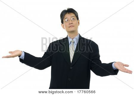 businesswoman shrugging her shoulder