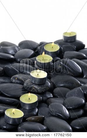 Spa Candle with flat river rocks