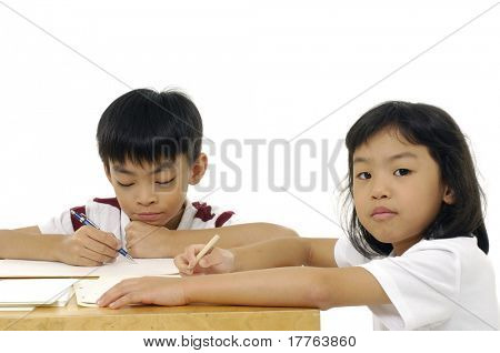 Two pupils in classroom-Elementary school
