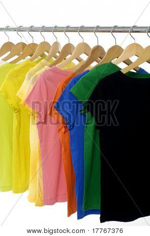 bright colored Tee Shirts hanging