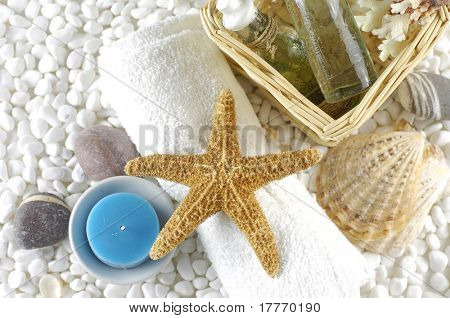 skin care items with starfish and sea shells on white pebble