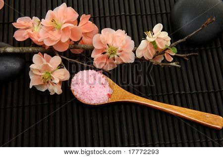 beauty treatment -Spring flowering quince and herbal salt on black background