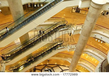 Shoppers at multilevel shopping center