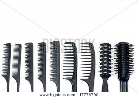 A set of black combs isolated on white
