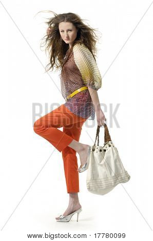 Fashion model with bag posing in the studio