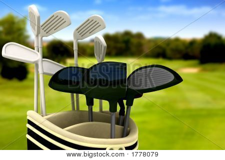 Golf Clubs On A Course