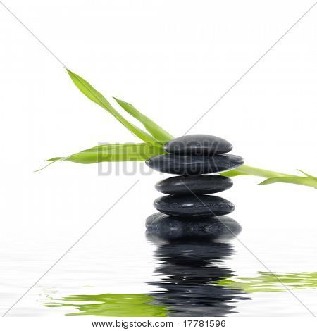 Spa massage treatment stones with balm leaf herb