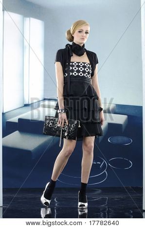 Fashion model with handbag. posing in the studio