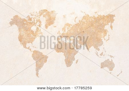 world map on leather