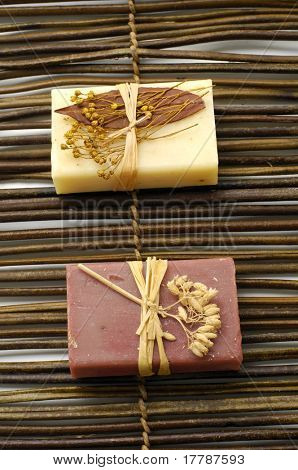 Two nature soap on bamboo mat