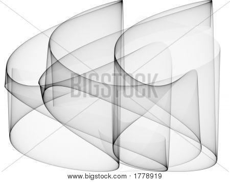 Op Art Sine Curves Six Black Glass