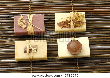 Set of nature soap on bamboo mat