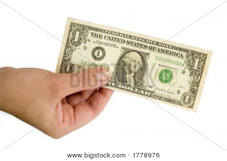 Hand With One Dollar