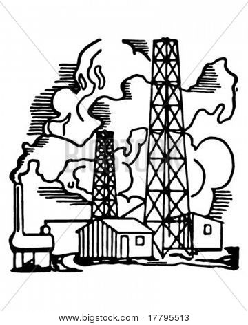 Oil Field - Retro Ad Art Illustration