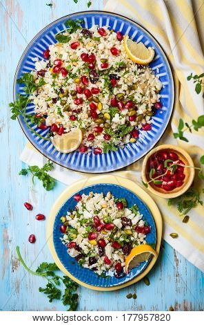 Cauliflower couscous with dried cranberry, pomegranate, pistachio and ...