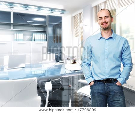 standing confident man in 3d modern office