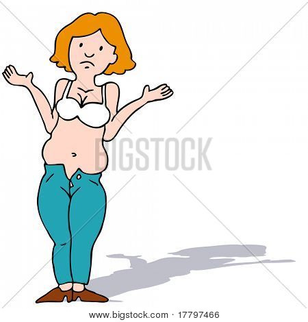 An image of a girl with a muffin top waist who doesn't fit in her jeans.