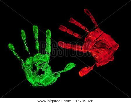 UV hand prints with black background