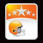 stock photo of football helmet  - football helmet on orange star background - JPG