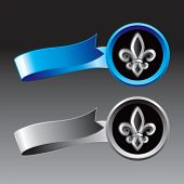 fleur de lis on blue and silver ribbons