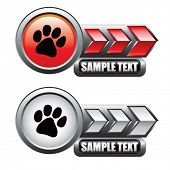 foto of paw-print  - paw print on red and silver arrow nameplates - JPG