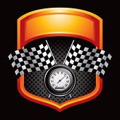 picture of mph  - speedometer and checkered flags on orange display - JPG