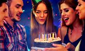 Happy friends birthday celebrating food with celebration cakes. Meet people wear in hat party blow o poster