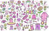 pic of girlie  - Spring Princess Girlie Doodle Sketch Color Vector Illustration Set - JPG