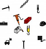 construction working illustrations and symbols set