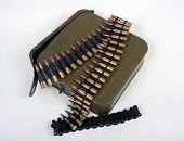 image of mg  - Russian machine gun belt with ammo tin - JPG