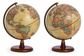 vintage / antique / retro terrestrial globe showing both sides of the world - America and Europe as  poster