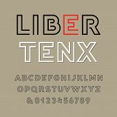 Linear Font. Vector Alphabet With Latin Letters And Numbers. poster