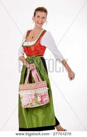 Swing to the old Bavarian woman in costume