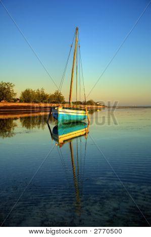 Blue Fishing Sail Boat