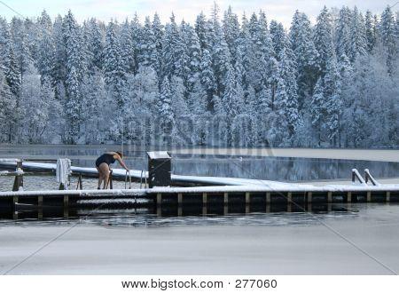 Ice-hole Swimming