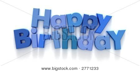 Happy Birthday In Blue Letters